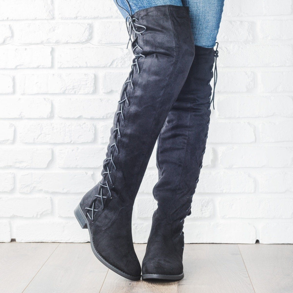 Womens Side Laced Over-the-Knee Boots - Bella Marie