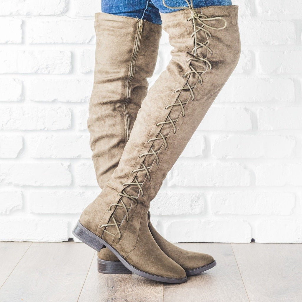 Womens Side Laced Over-the-Knee Boots - Bella Marie - Olive / 5.5