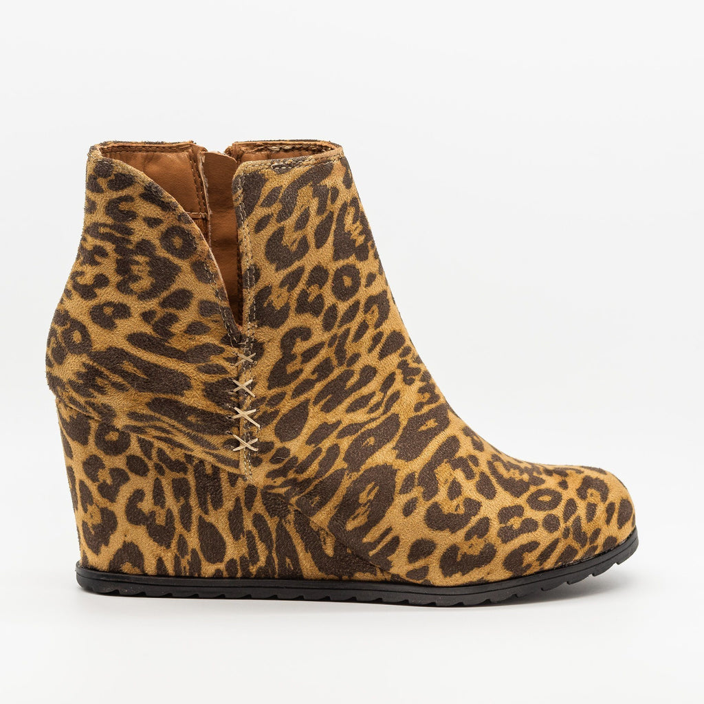 Womens Side Slit Fashion Bootie Wedges - Weeboo - Leopard / 5