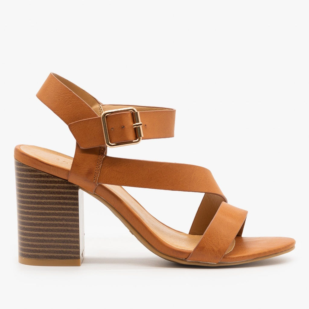 Womens Side Strap Stacked Heel - Bamboo Shoes - Tan / 5