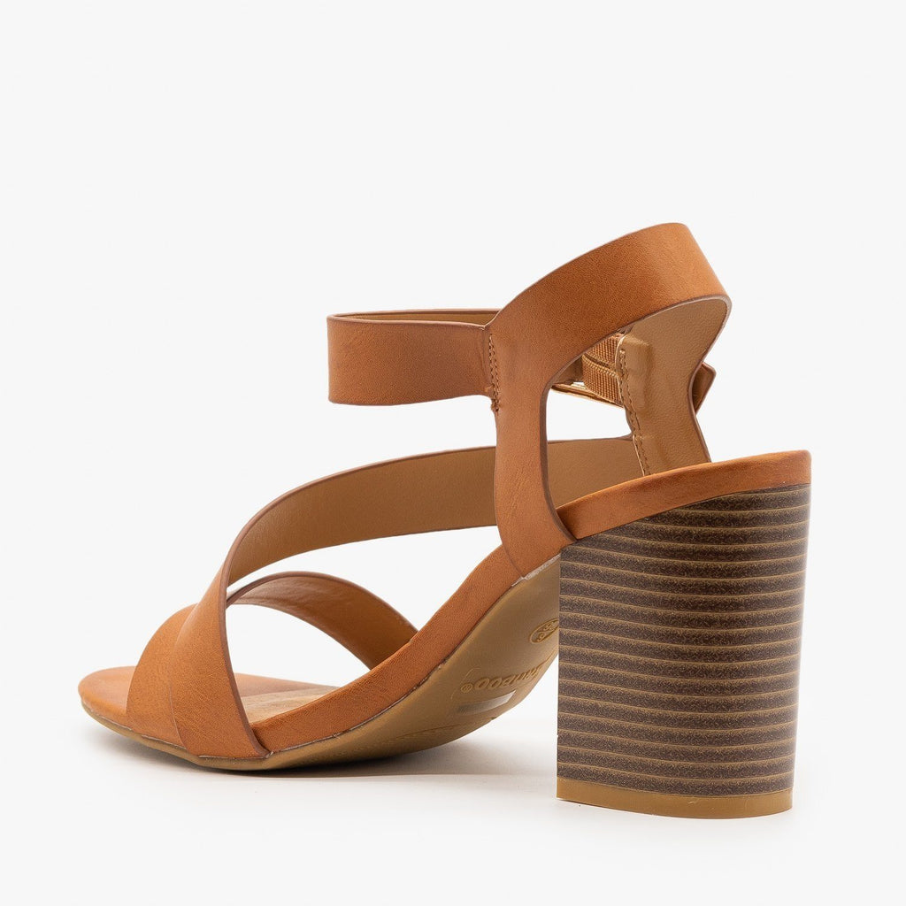 Womens Side Strap Stacked Heel - Bamboo Shoes