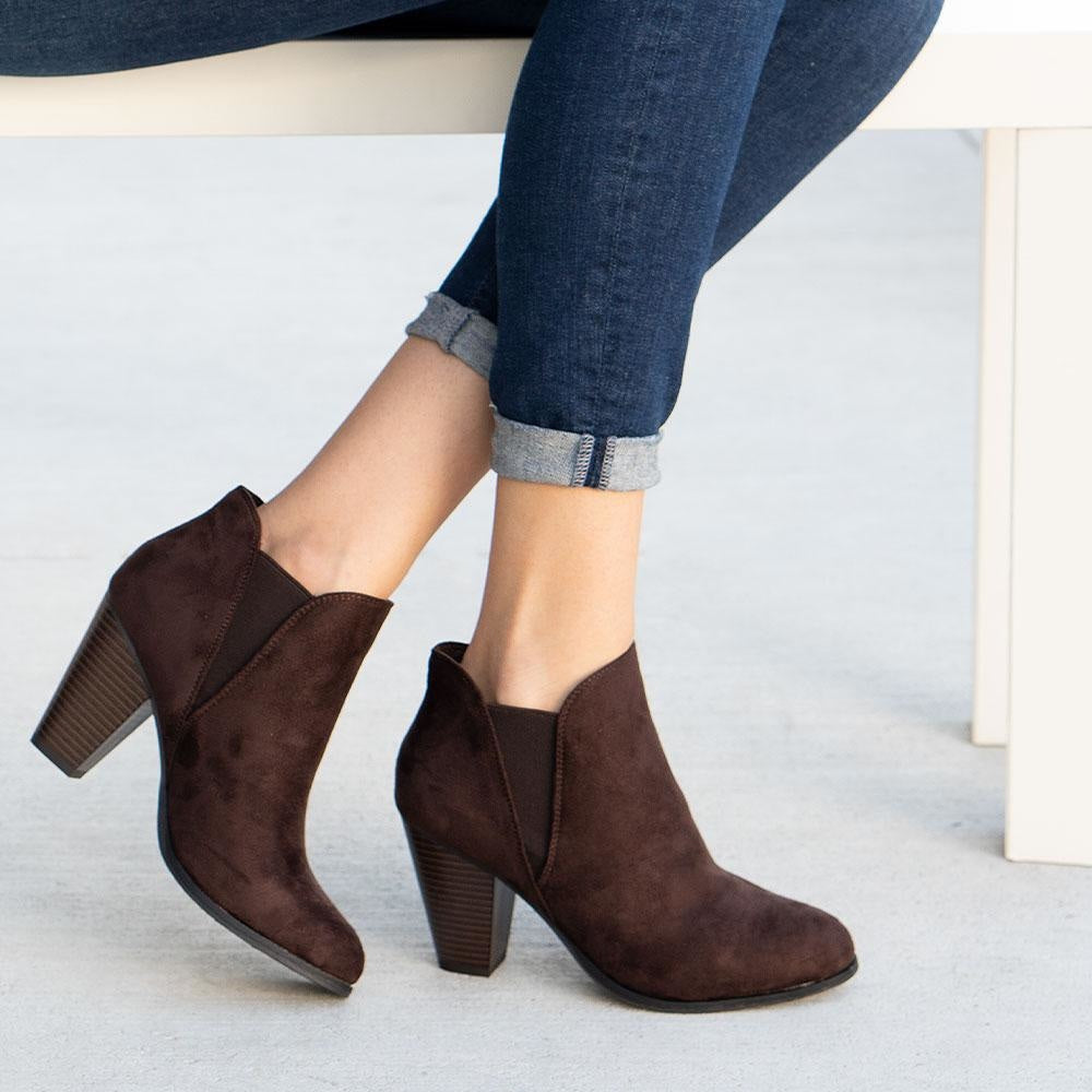 Women's Side Stretch Ankle Booties - Forever - Chocolate / 5