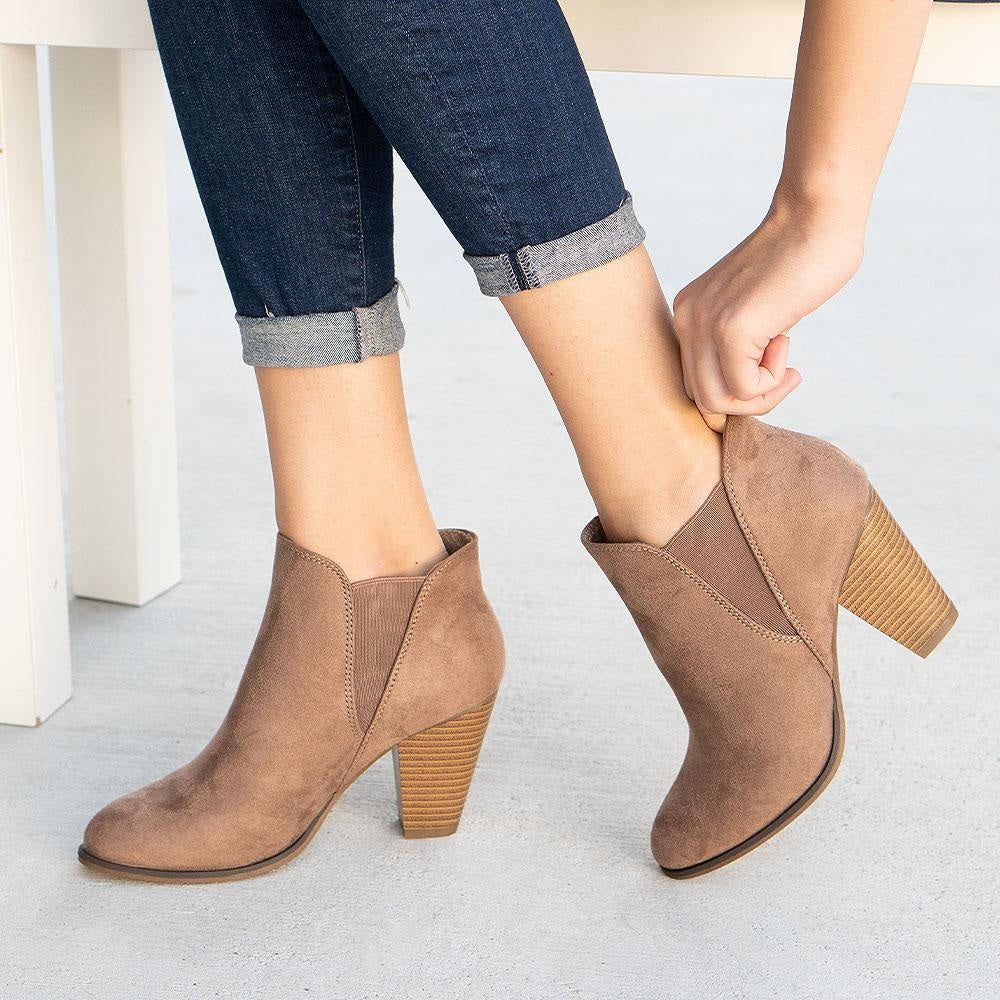 Women's Side Stretch Ankle Booties - Forever - Taupe / 5