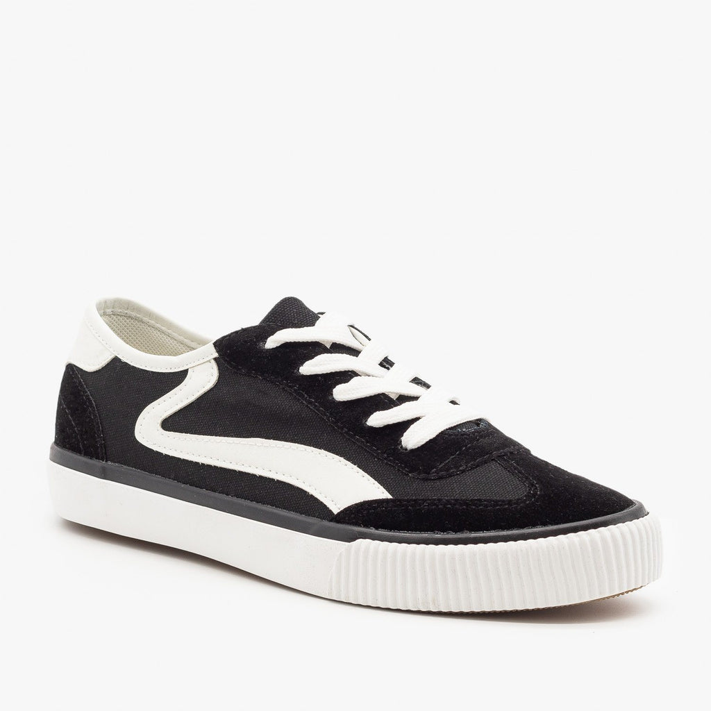 Womens Side Stripe Sneakers - Anna Shoes - Black / 5