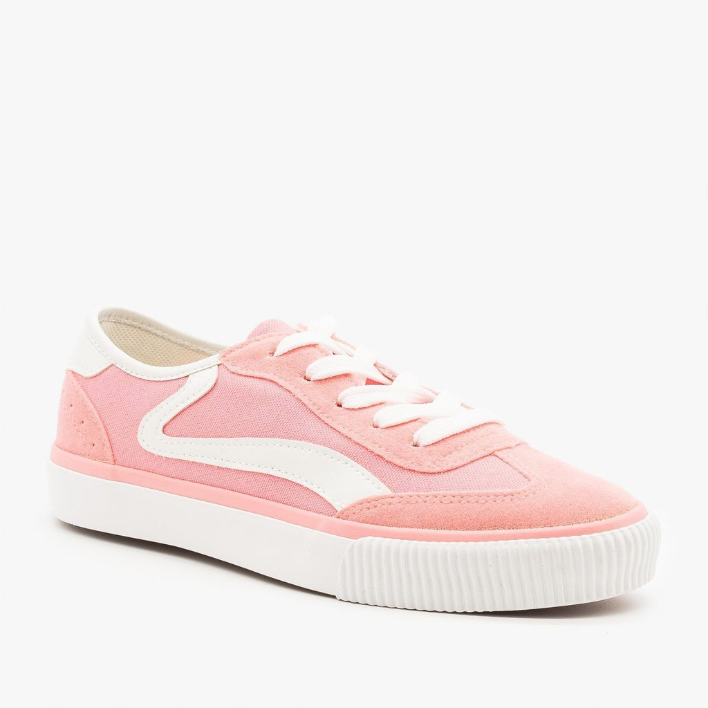 Womens Side Stripe Sneakers - Anna Shoes - Pink / 5