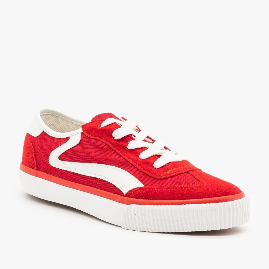 Womens Side Stripe Sneakers - Anna Shoes - Red / 5