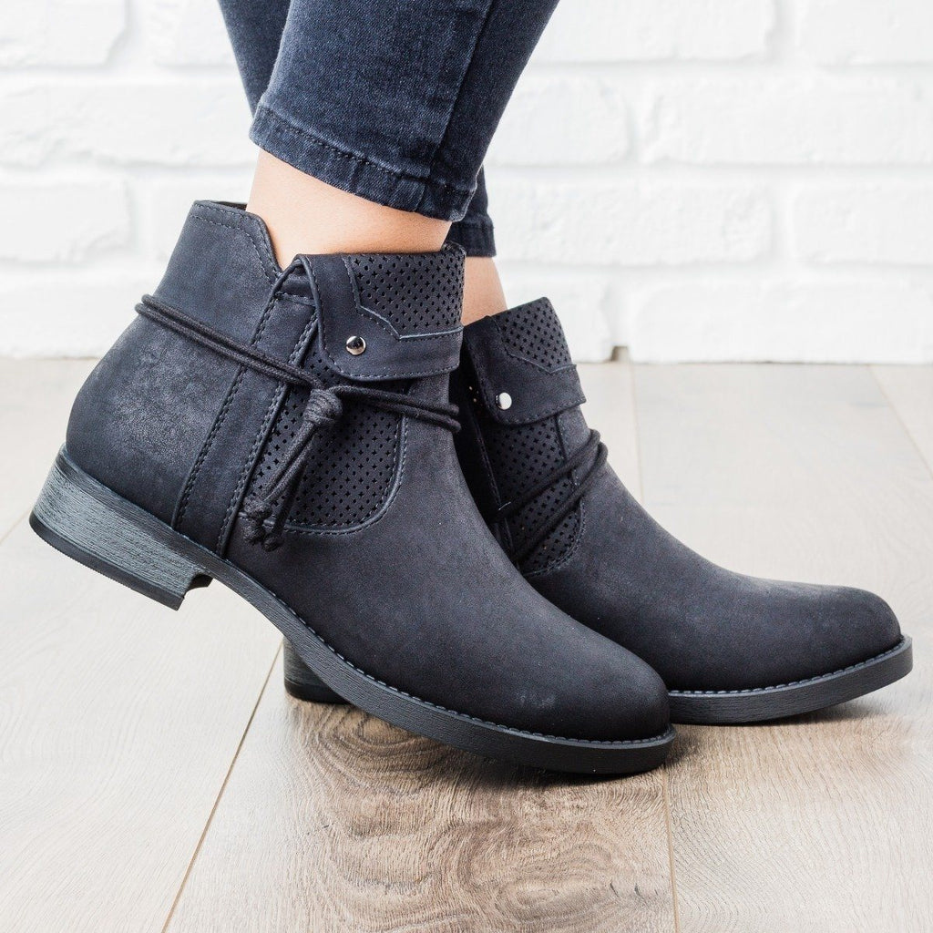 Womens Side Tie Fall Boot - Soda Shoes