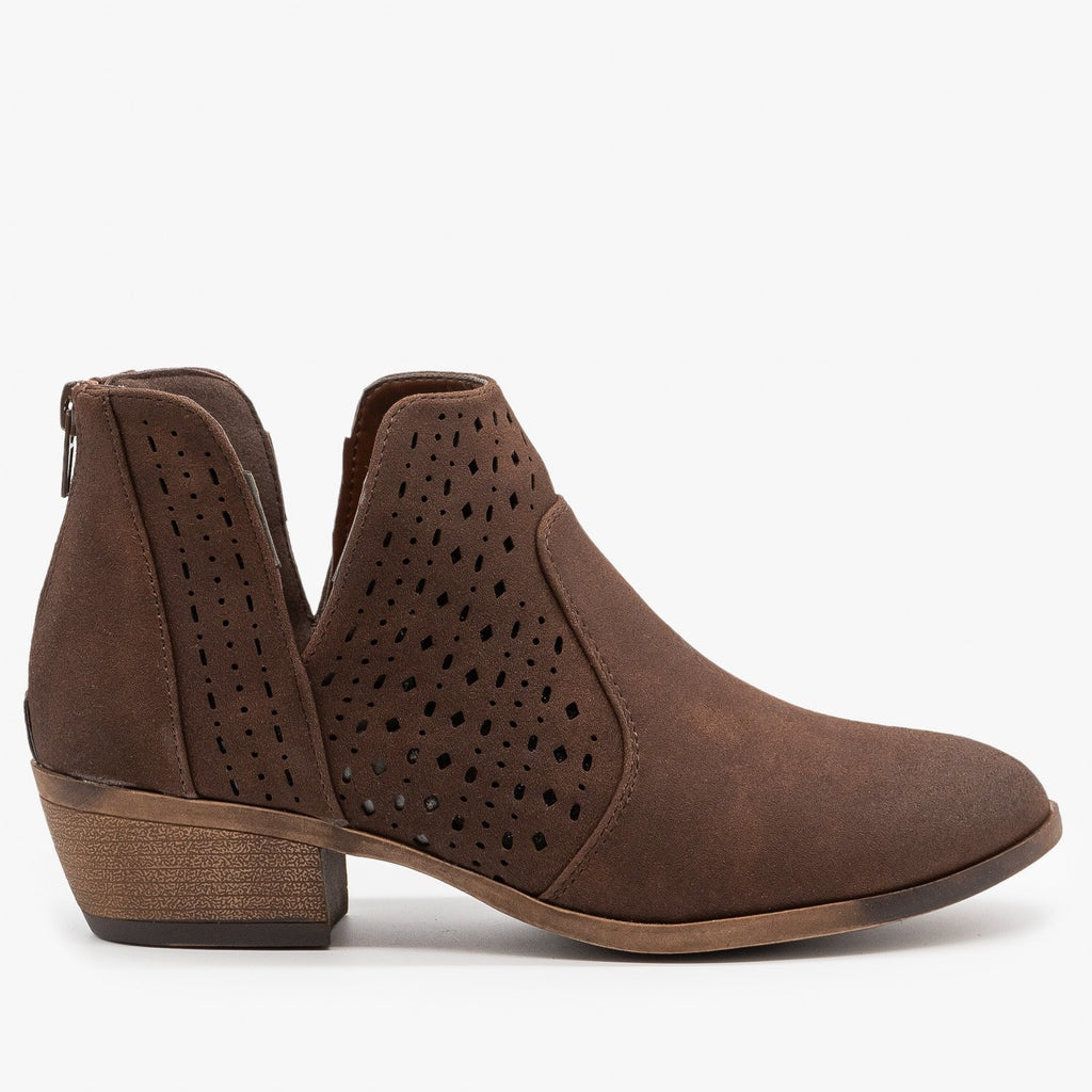 Womens Side V Cut Booties - Mata - Brown / 5