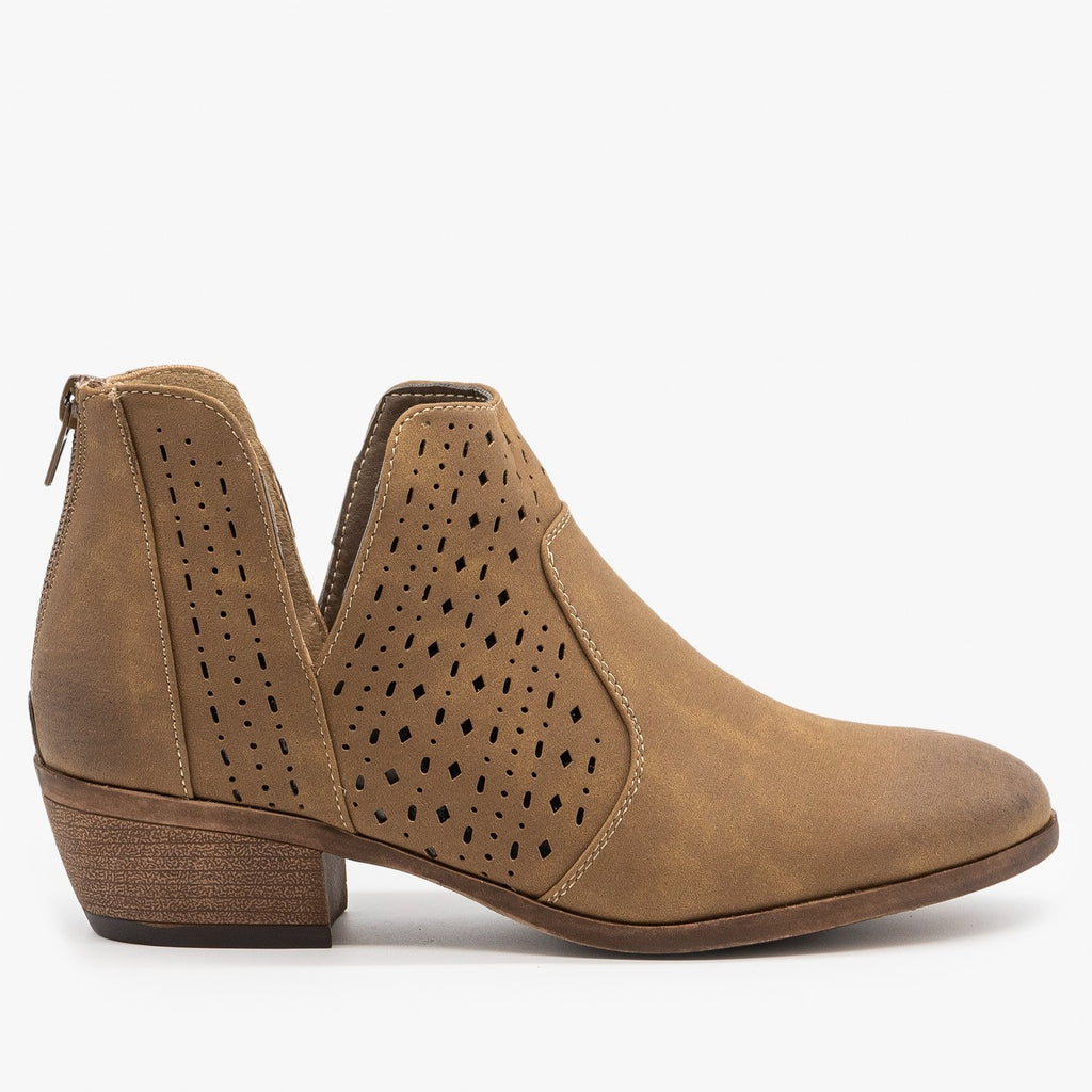 Womens Side V Cut Booties - Mata - Taupe / 5