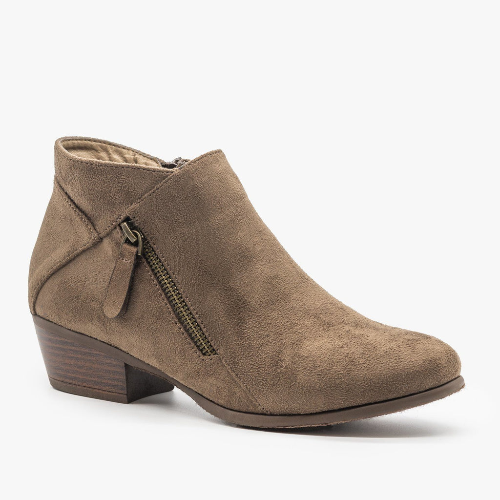 Womens Side Zipper Fashion Boots - Refresh - Mocha / 5