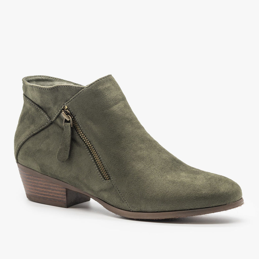 Womens Side Zipper Fashion Boots - Refresh - Olive / 5
