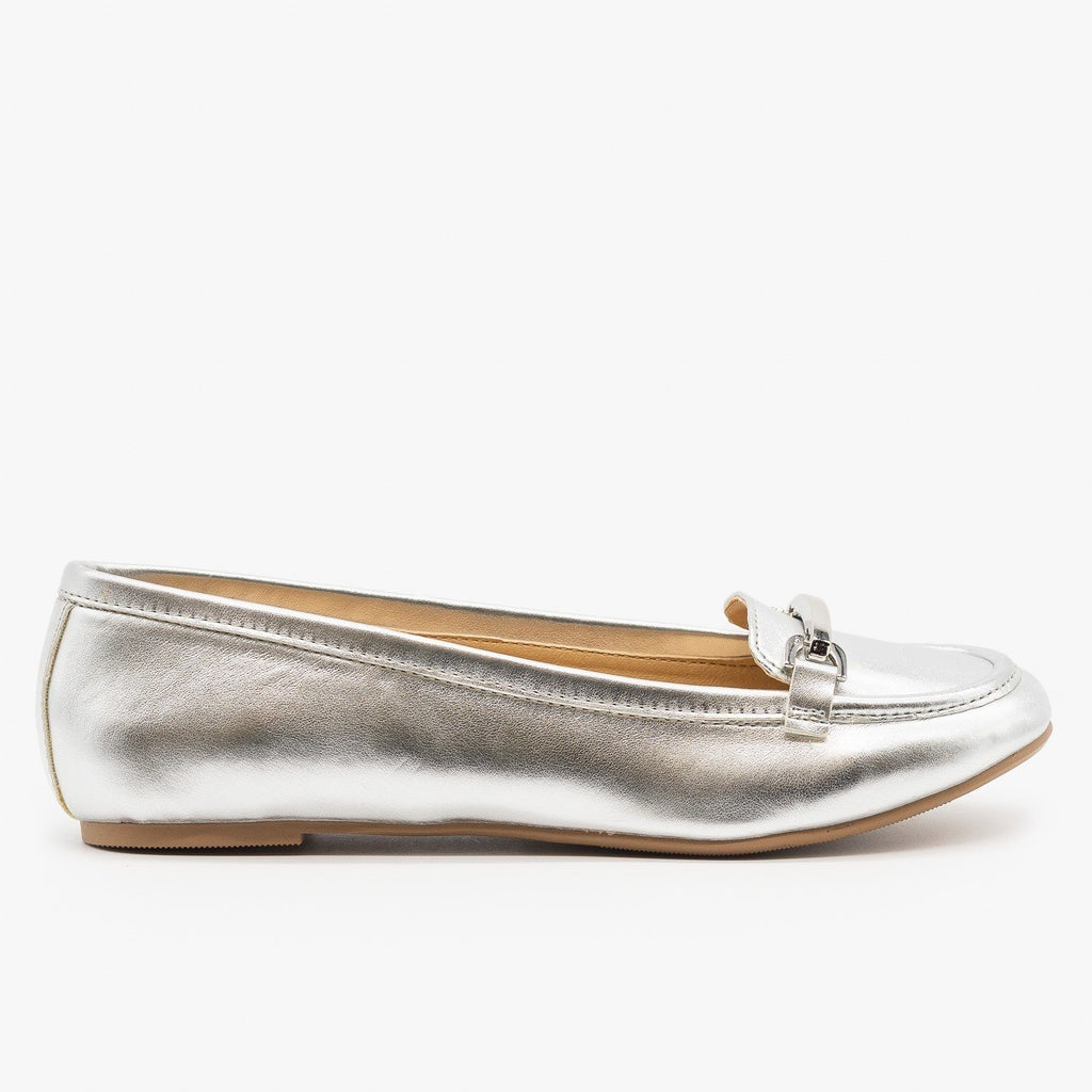 Womens Silver Loafers - Paprika Shoes