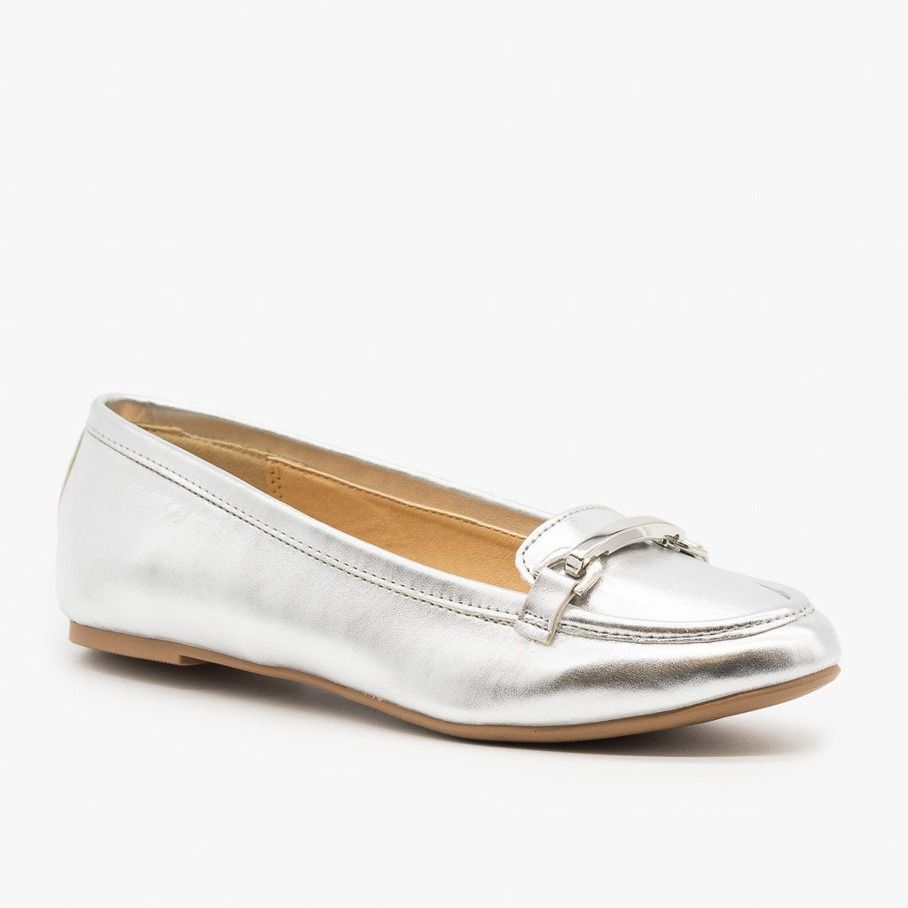 Womens Silver Loafers - Paprika Shoes - Silver / 5