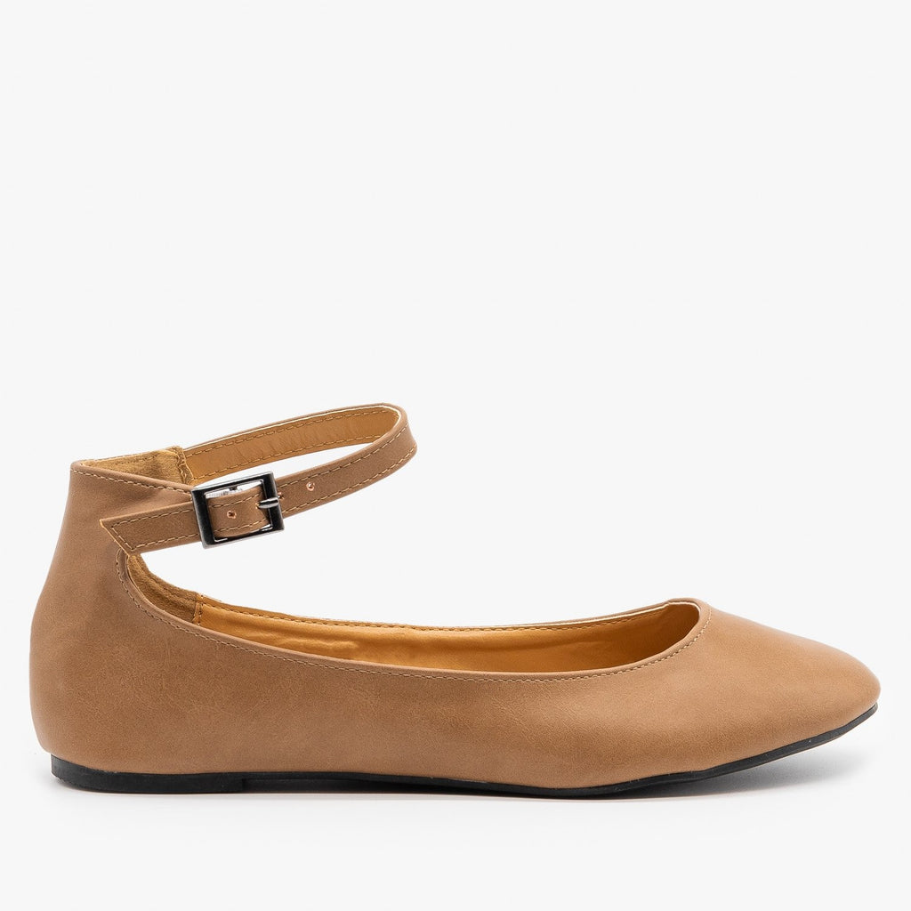 Womens Simple Ankle Strap Ballet Flats - Refresh - Taupe / 5