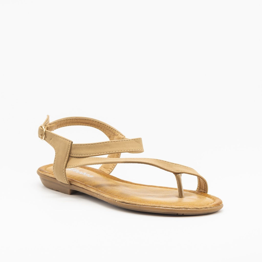 Womens Simple Ankle Strap Sandal - Weeboo - Taupe / 5