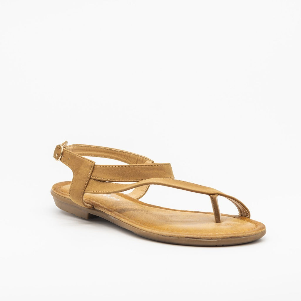 Womens Simple Ankle Strap Sandal - Weeboo - Tan / 5