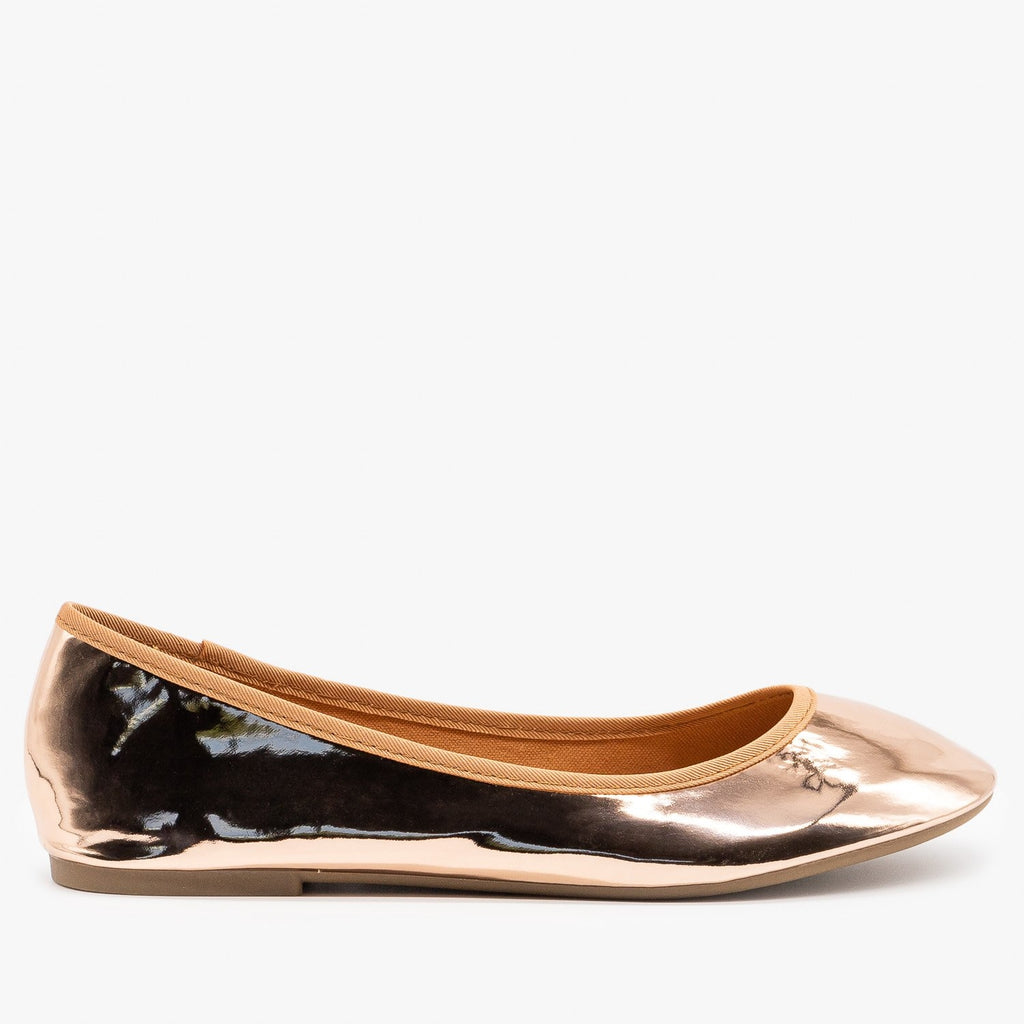 Womens Simple Chic Ballet Flats - Bamboo Shoes - Rose Gold / 5