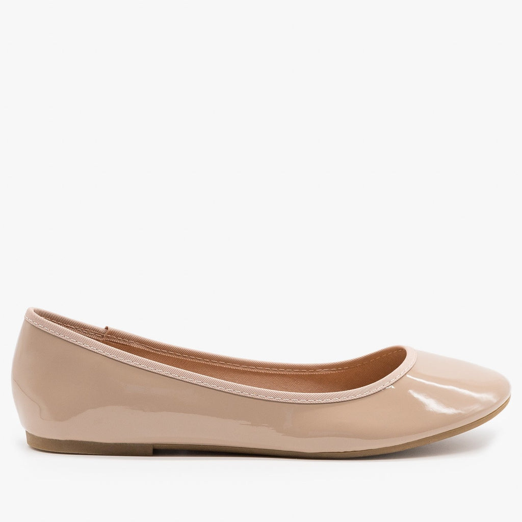 Womens Simple Chic Ballet Flats - Bamboo Shoes - Nude / 5