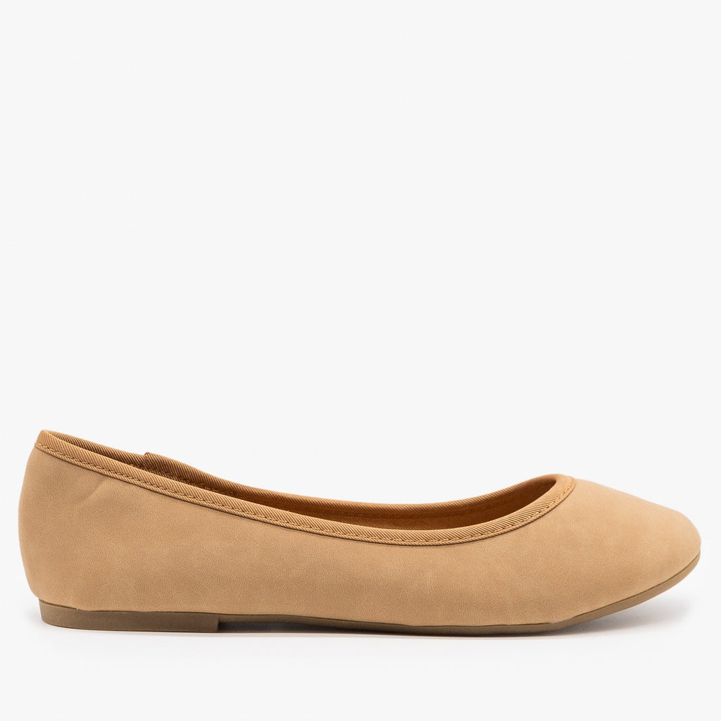 Womens Simple Chic Ballet Flats - Bamboo Shoes - Natural / 5