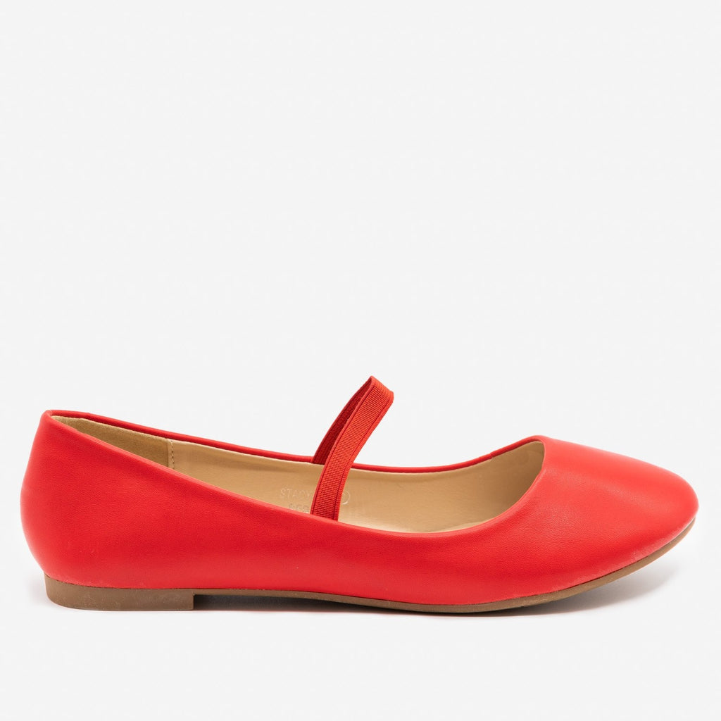Women's Simple Elastic Strap Ballet Flats - Bella Marie - Red / 5