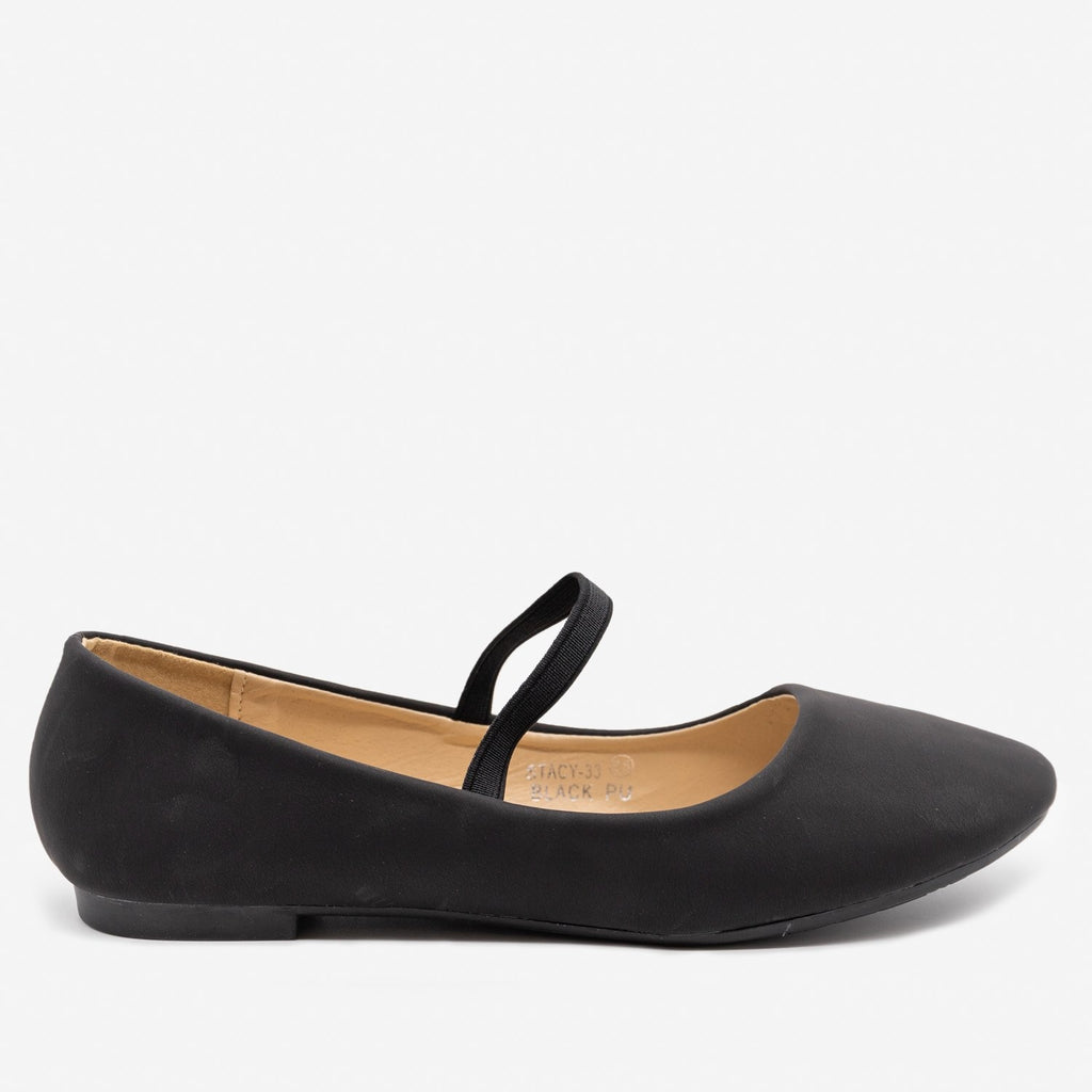 Women's Simple Elastic Strap Ballet Flats - Bella Marie - Black / 5