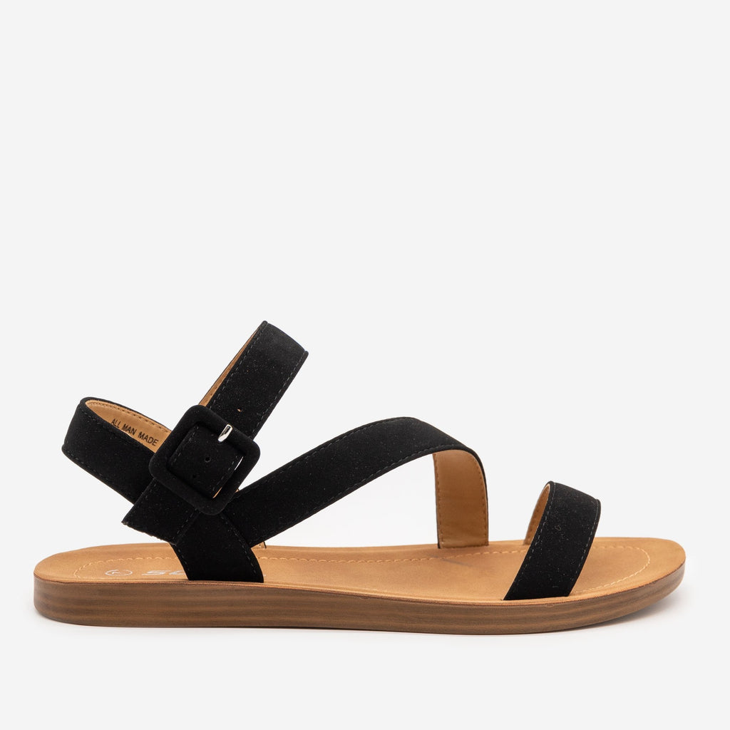 Women's Simple Every Day Strappy Sandal - Soda Shoes - Black / 5