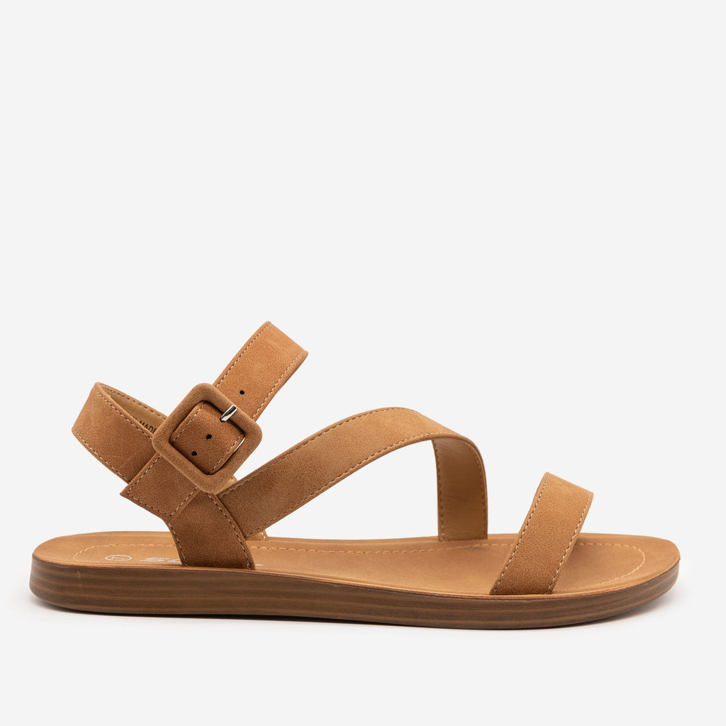 Women's Simple Every Day Strappy Sandal - Soda Shoes - Tan / 5