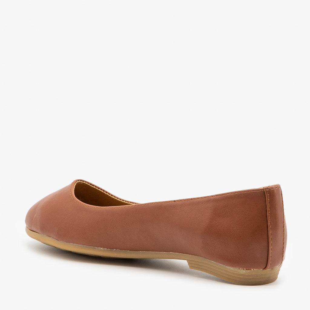 Womens Simple Faux Leather Ballet Flats - Bella Marie