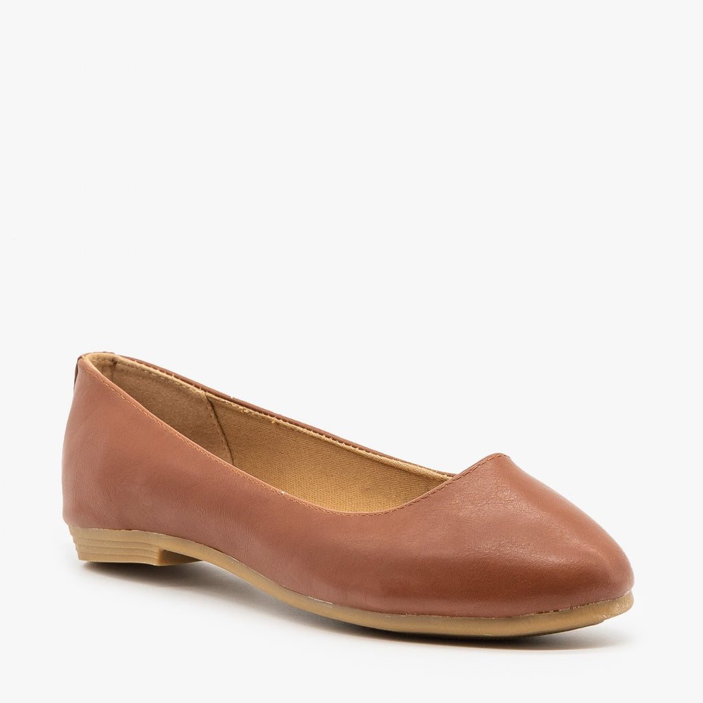 Womens Simple Faux Leather Ballet Flats - Bella Marie - Tan / 5