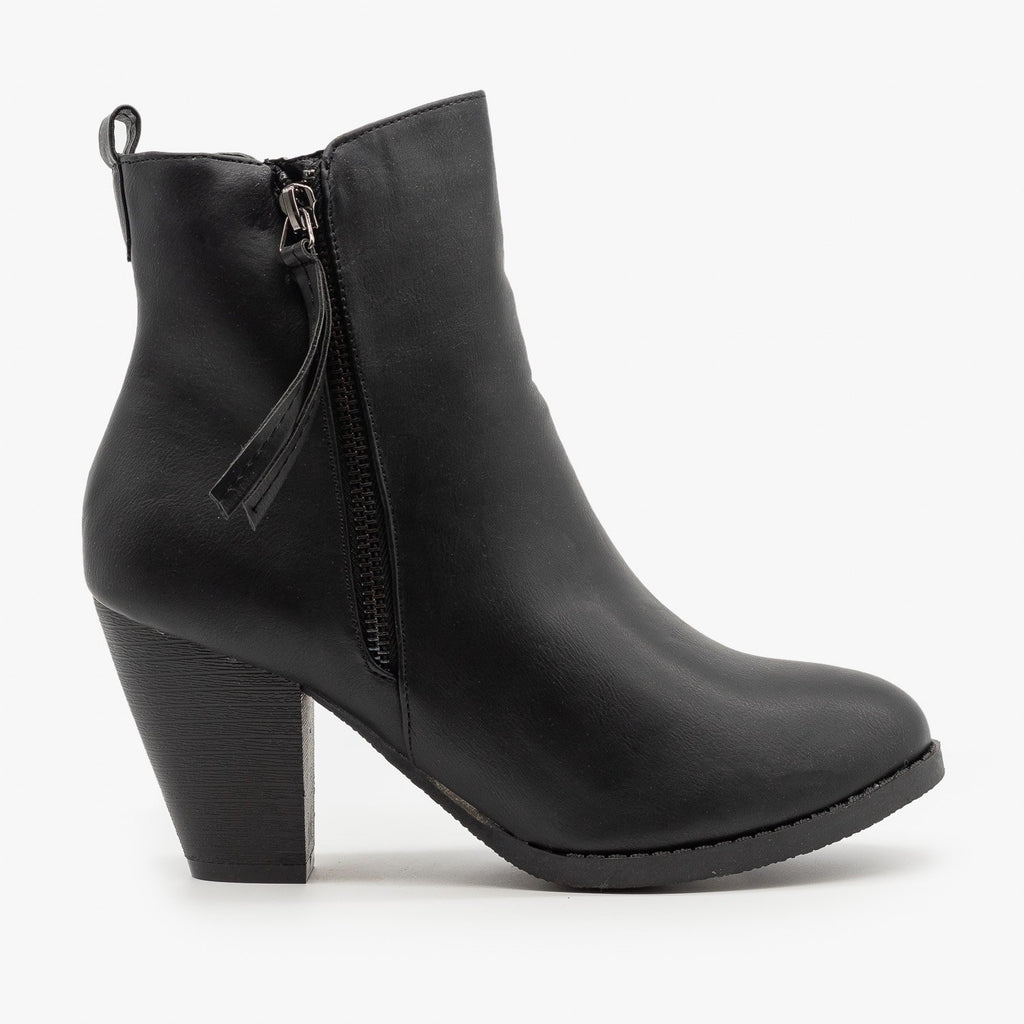 Womens Simple Faux Leather Booties - Fashion Focus - Black / 5