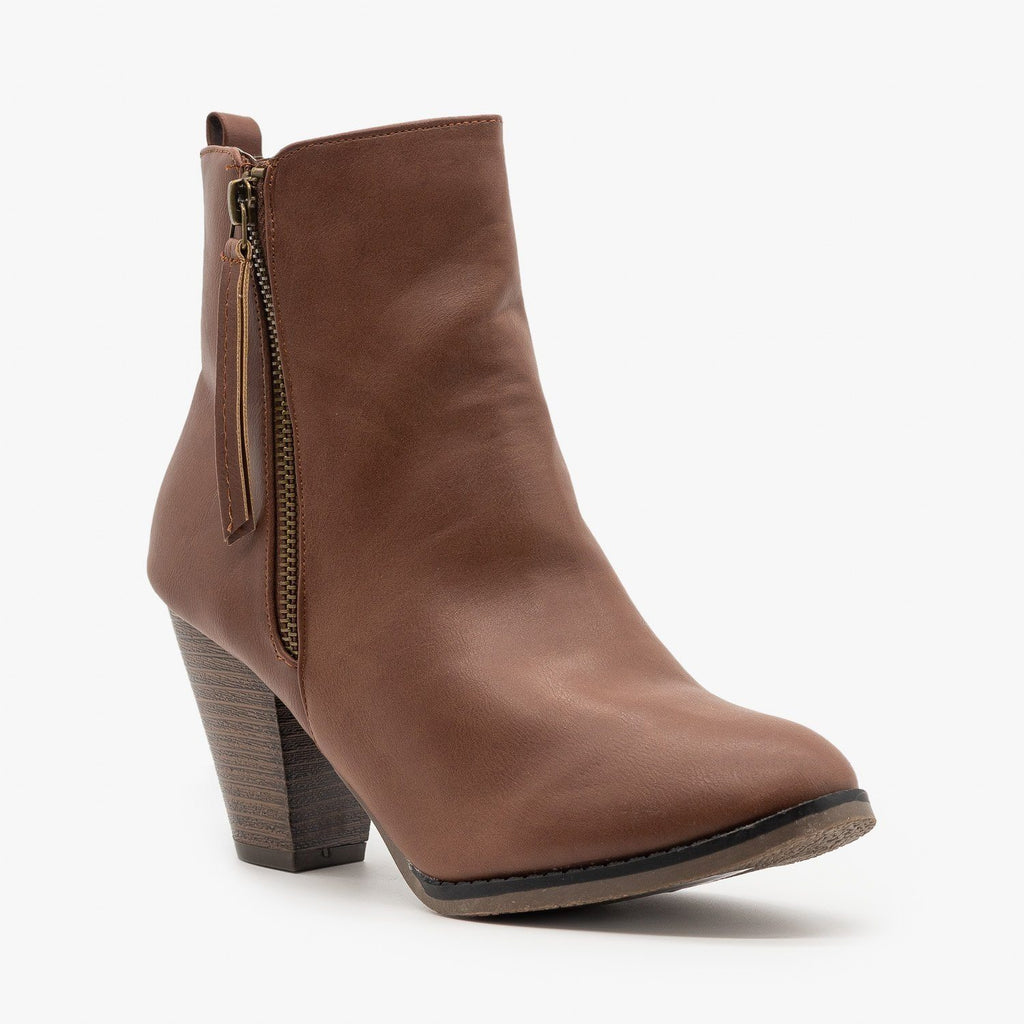 Womens Simple Faux Leather Booties - Fashion Focus