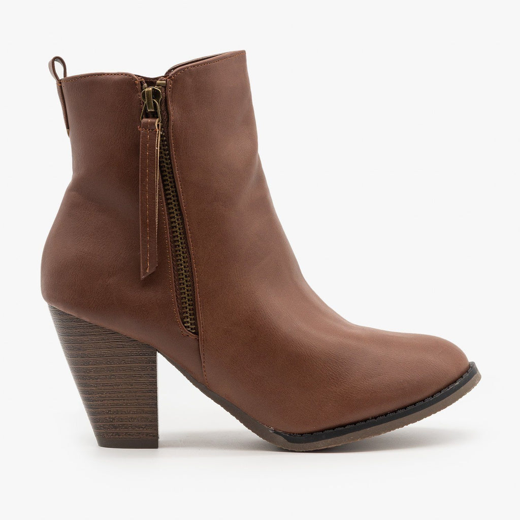 Womens Simple Faux Leather Booties - Fashion Focus - Cognac / 5