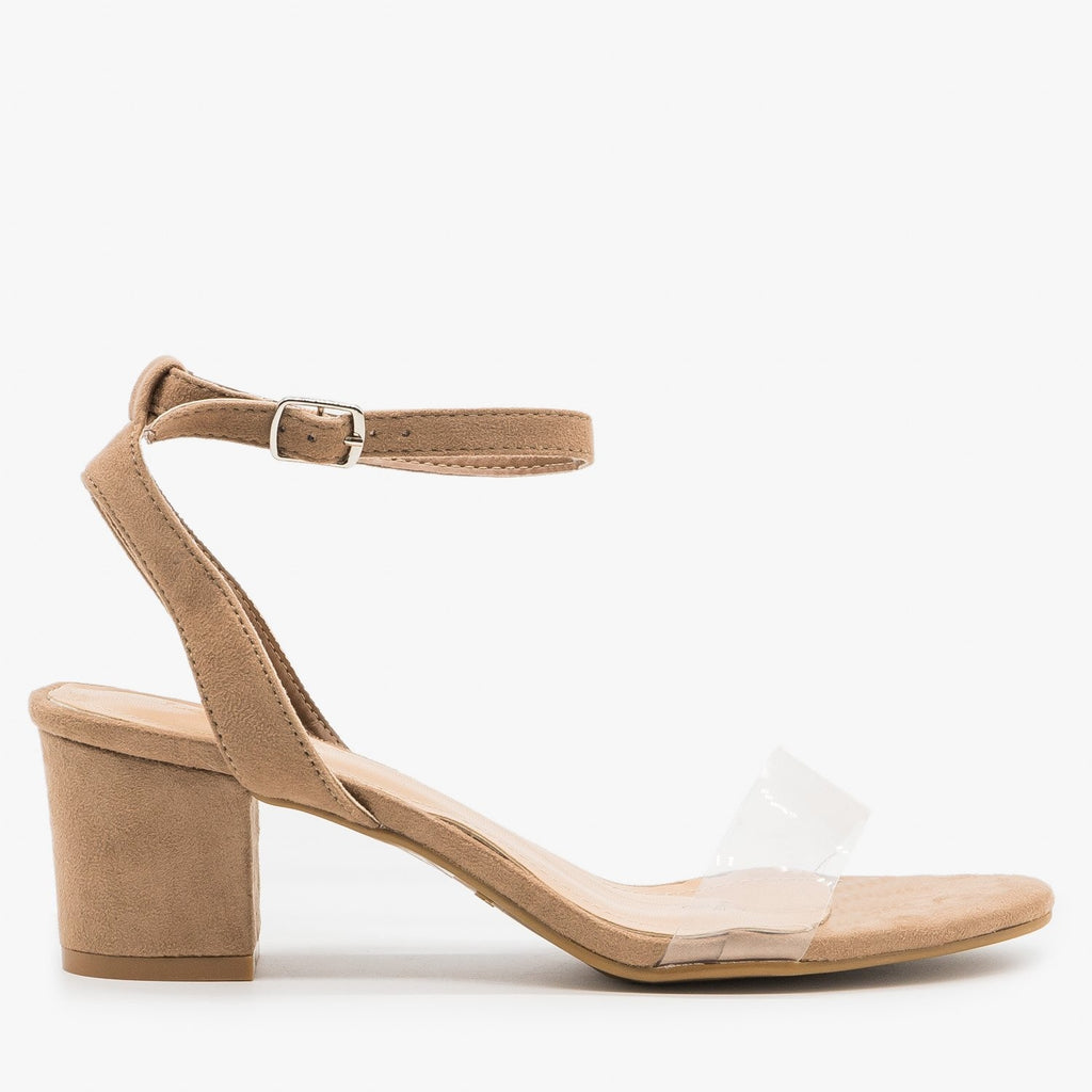 Women's Simple Low Heel Sandals - Anna Shoes - Natural / 5