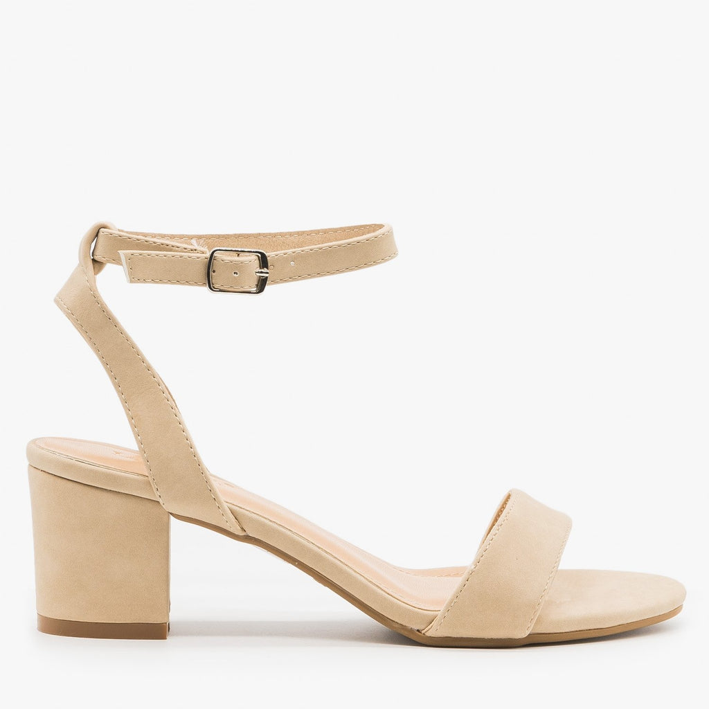 Women's Simple Low Heel Sandals - Anna Shoes - Nude / 5