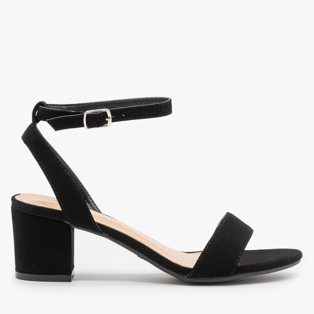 Women's Simple Low Heel Sandals - Anna Shoes - Black / 5