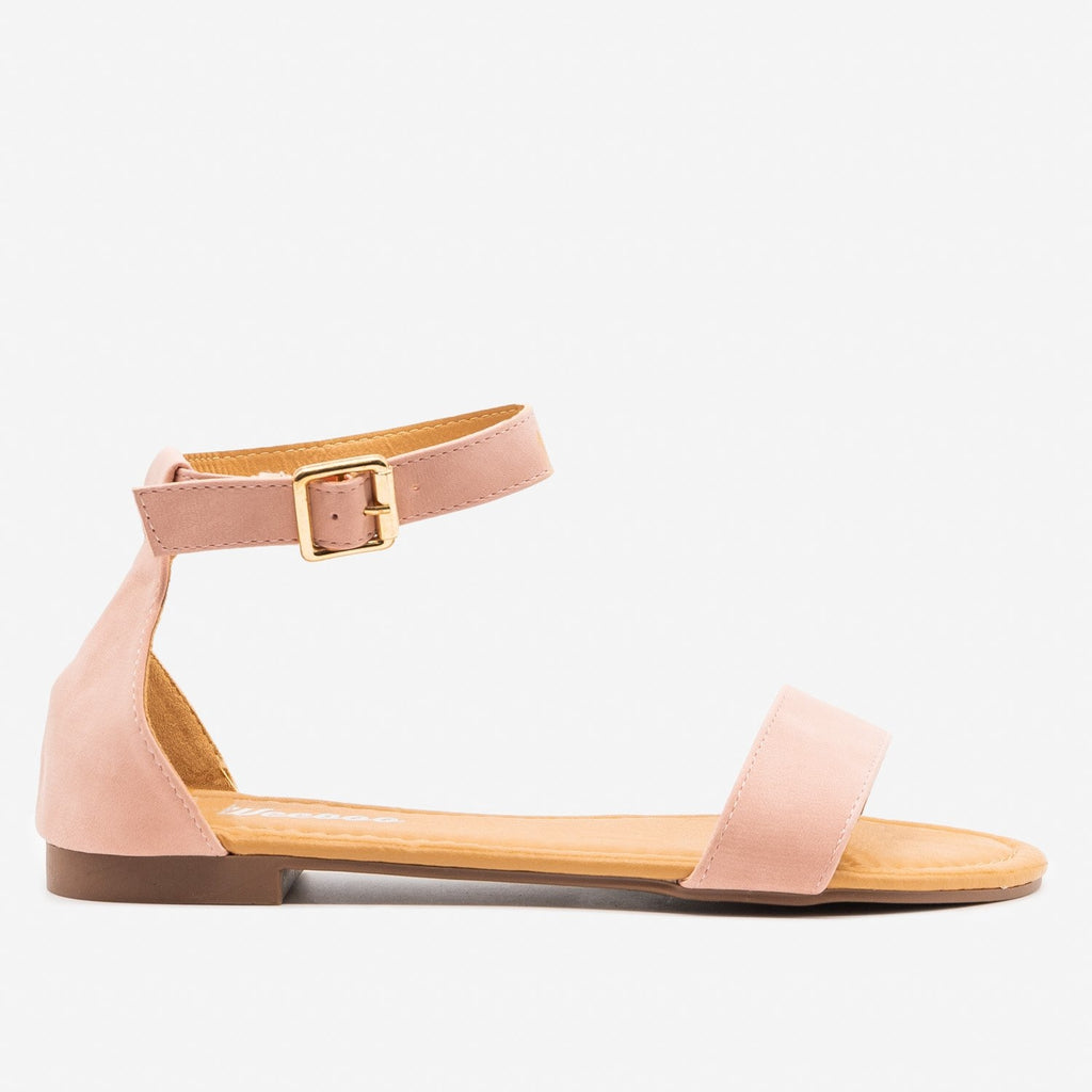 Women's Simple Open Toe Sandals - Weeboo - Blush / 5