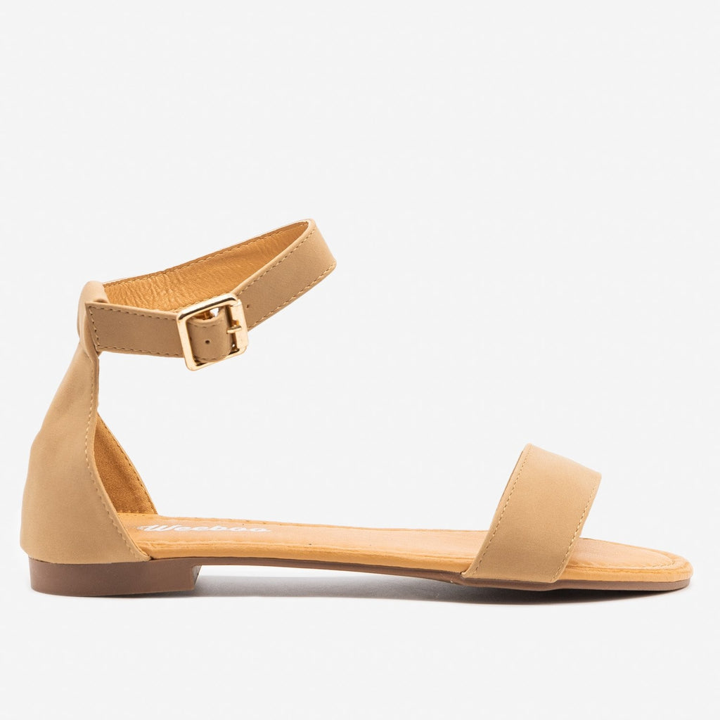 Women's Simple Open Toe Sandals - Weeboo - Taupe / 5