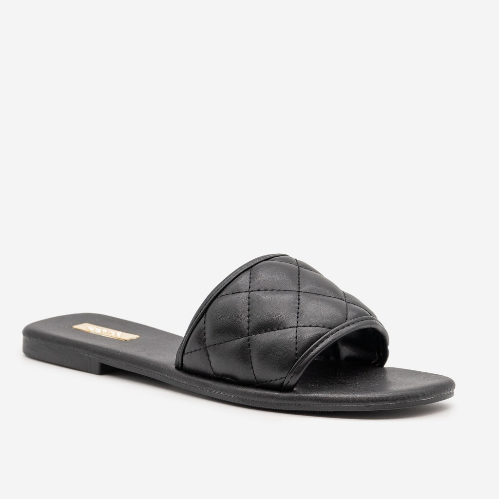 Women's Simple Quilted Slip On Sandals - Qupid Shoes