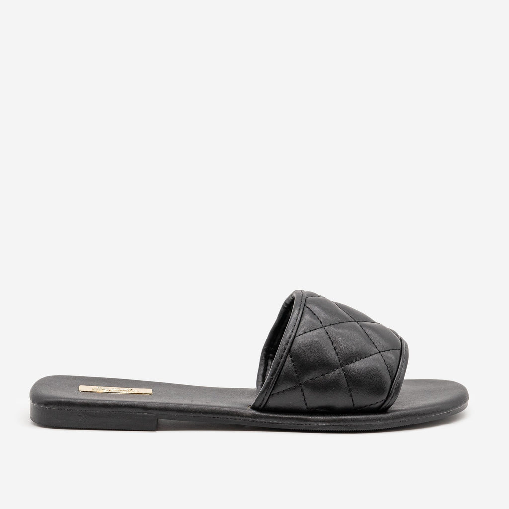 Women's Simple Quilted Slip On Sandals - Qupid Shoes - Black / 5