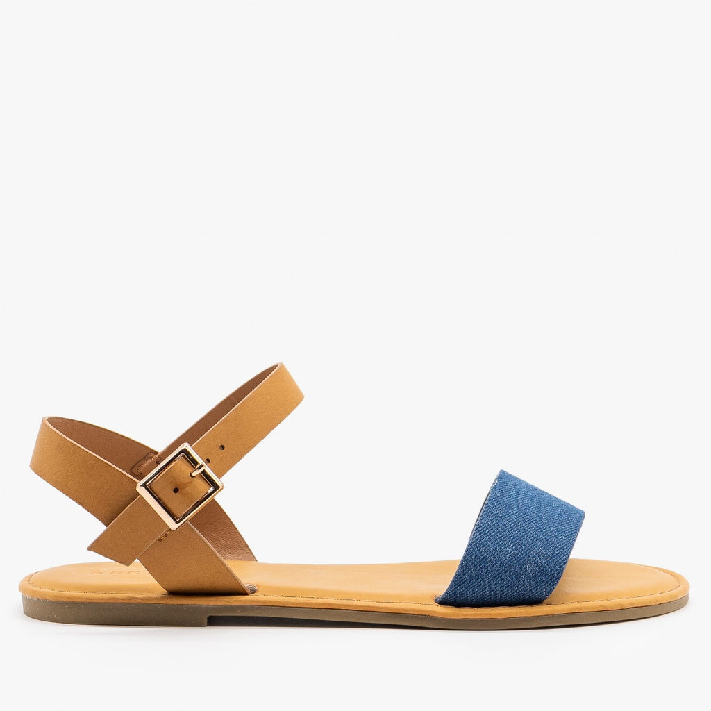 Womens Simple Slingback Sandals - Bamboo Shoes - Blue Denim / 5