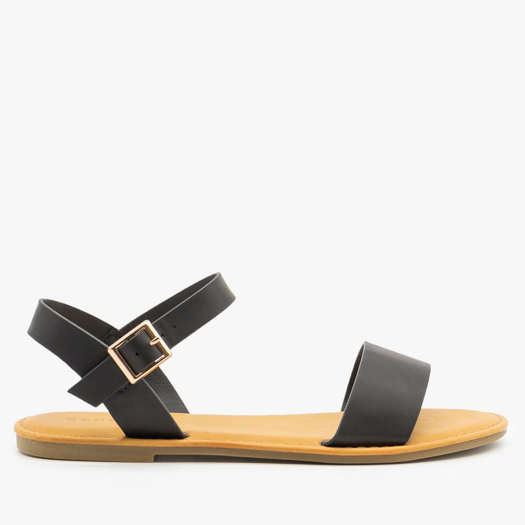 Womens Simple Slingback Sandals - Bamboo Shoes - Black / 5