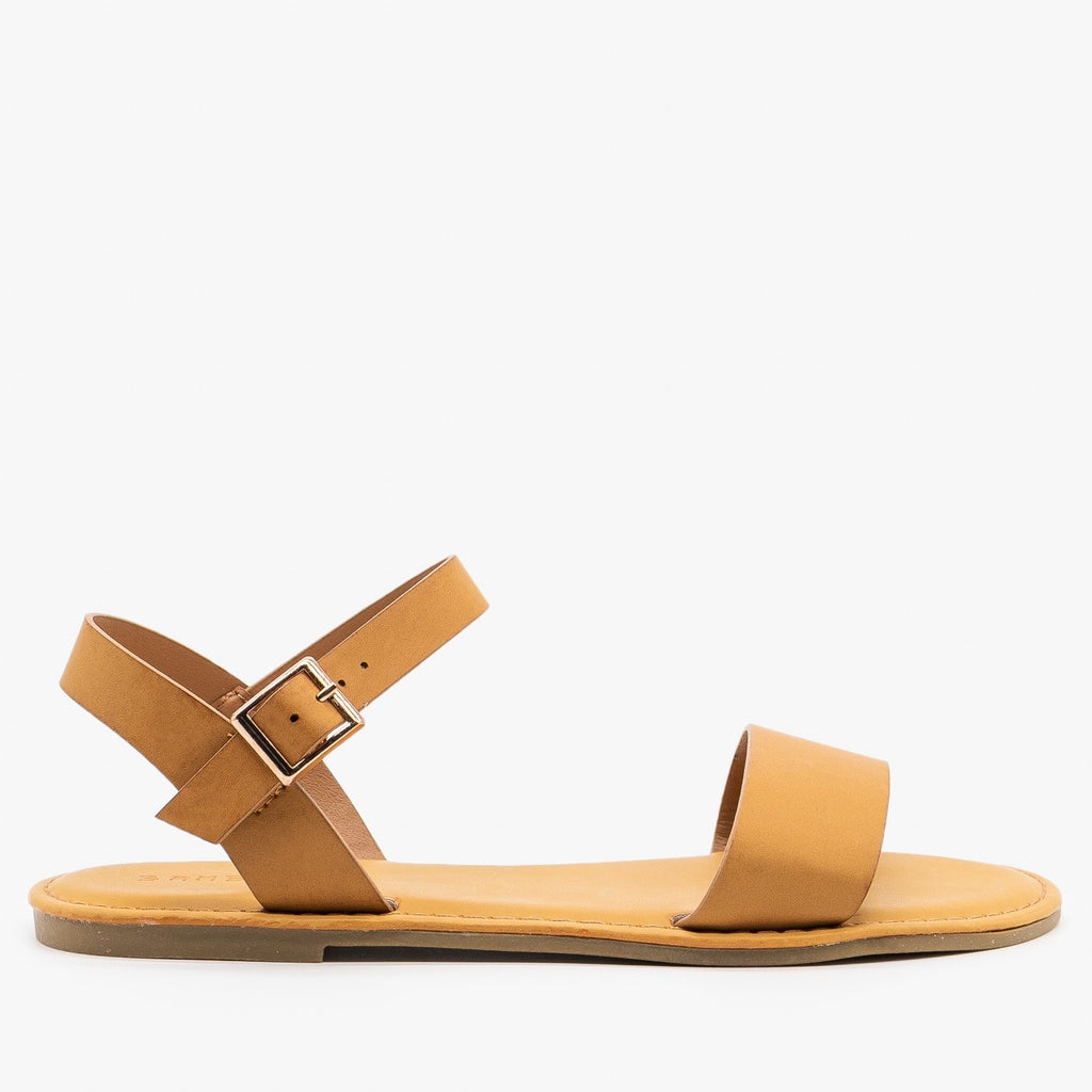 Womens Simple Slingback Sandals - Bamboo Shoes - Tan / 5