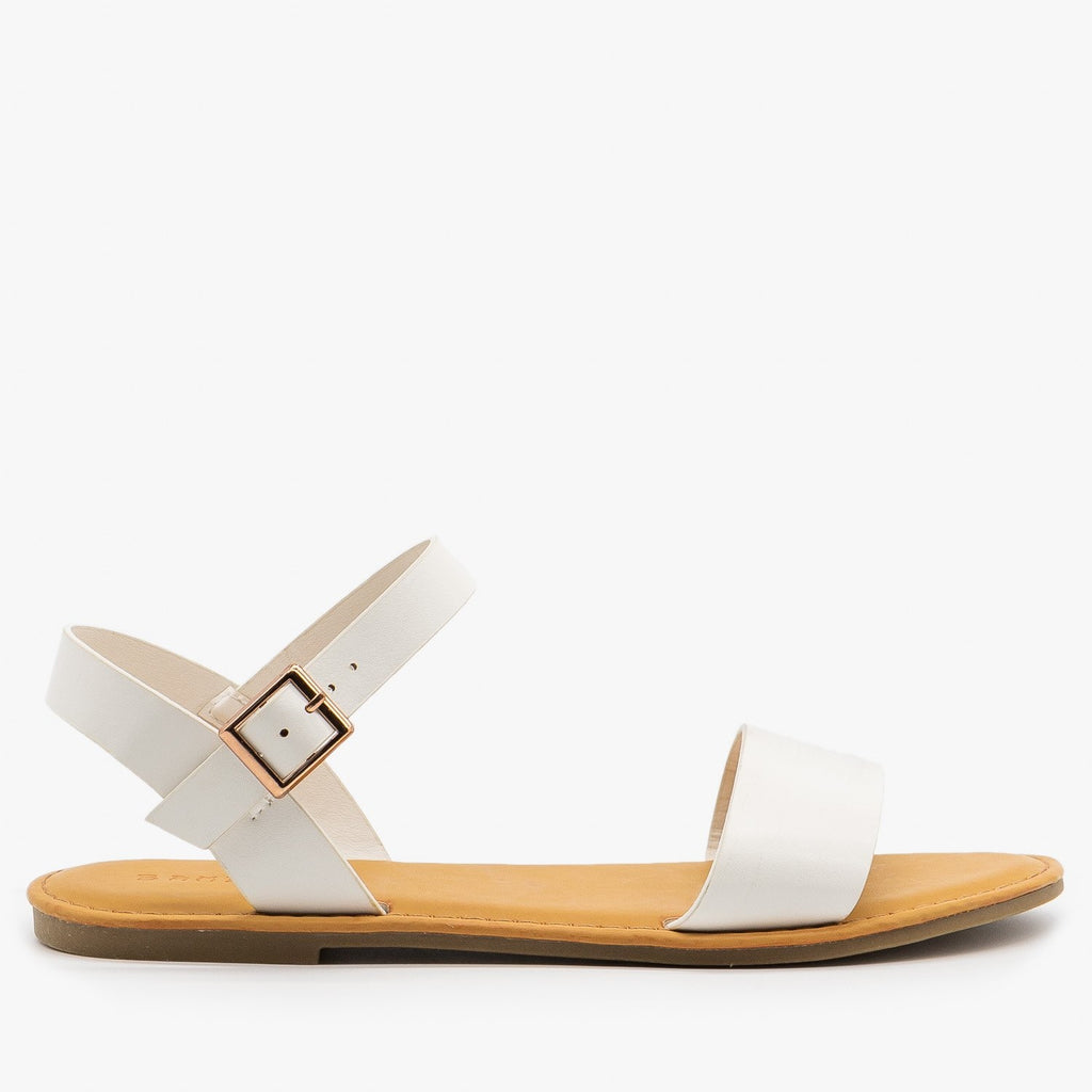 Womens Simple Slingback Sandals - Bamboo Shoes - White / 5