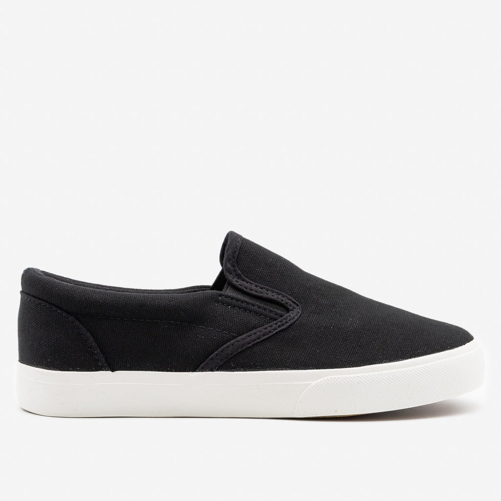 Women's Simple Slip on Sneaker - Nature Breeze - Black (Canvas) / 5