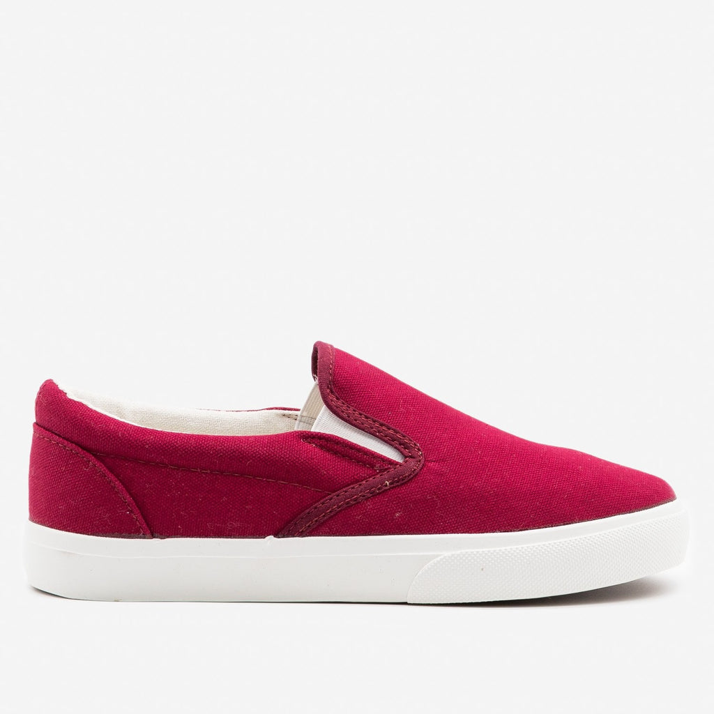 Women's Simple Slip on Sneaker - Nature Breeze - Burgundy / 5