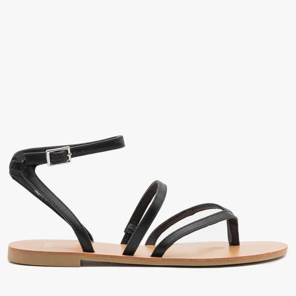 Women's Simple Strappy Sandals - Novo Shoes - Black / 5