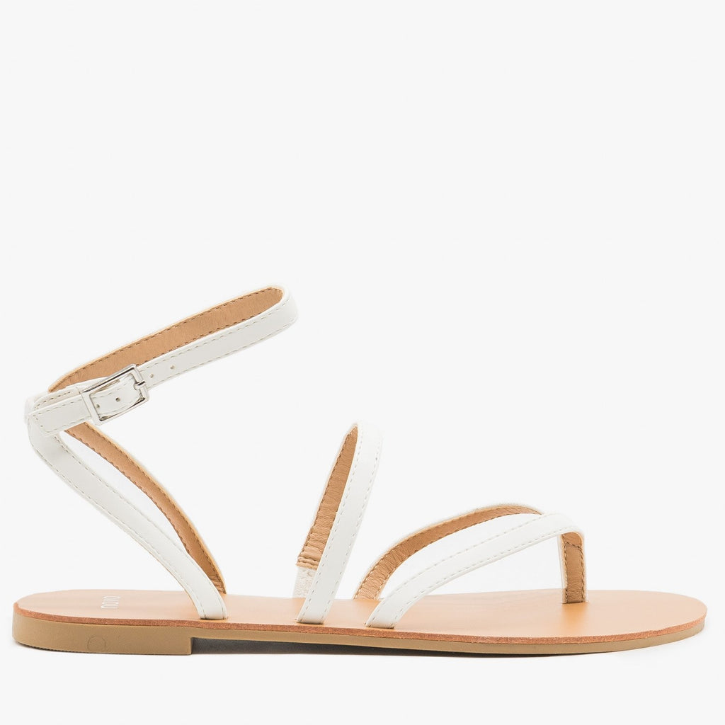 Women's Simple Strappy Sandals - Novo Shoes - White / 5