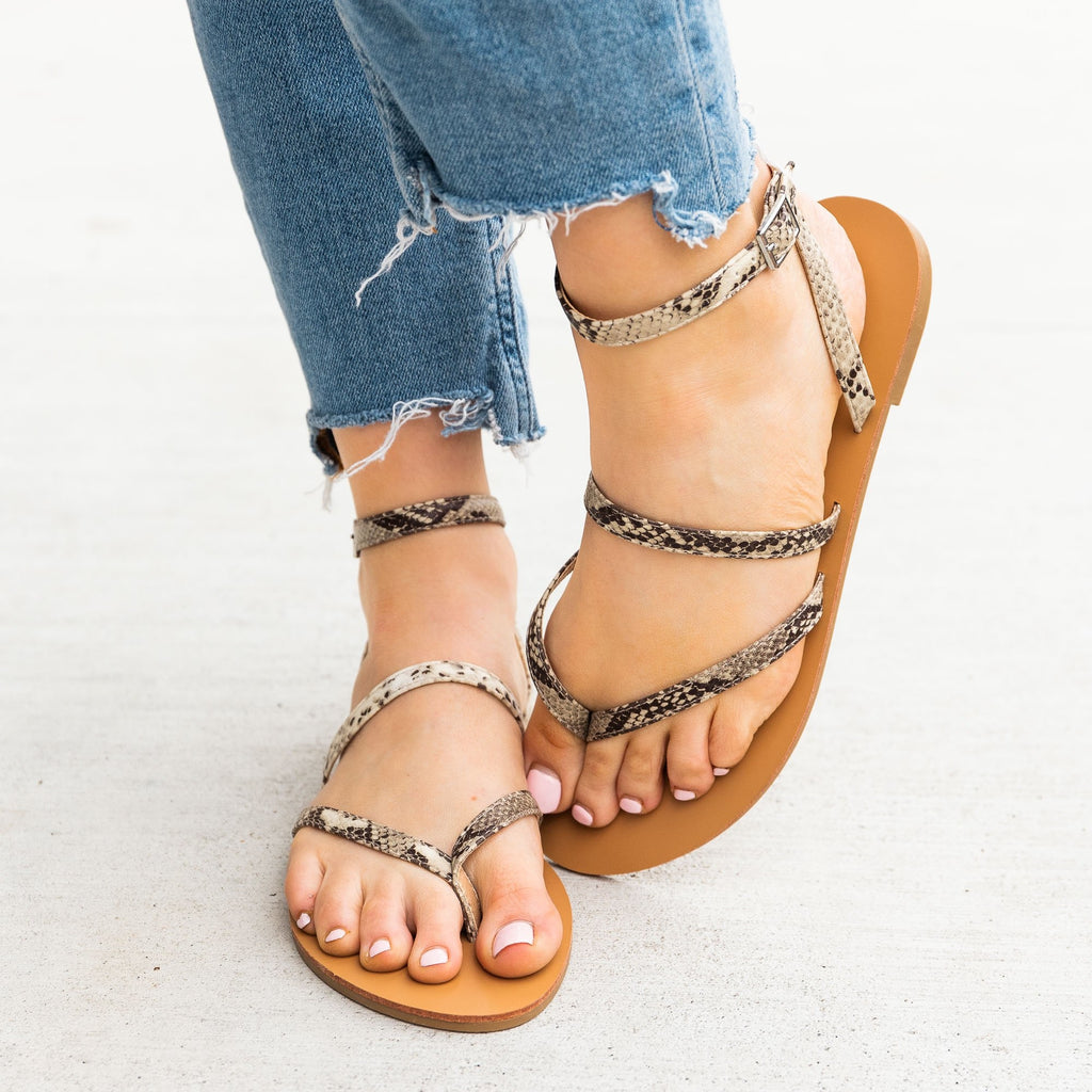 Women's Simple Strappy Snake Print Sandals - Novo Shoes