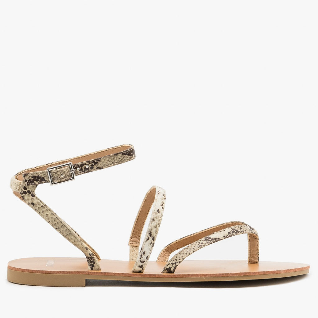 Women's Simple Strappy Snake Print Sandals - Novo Shoes - Natural Snake / 5