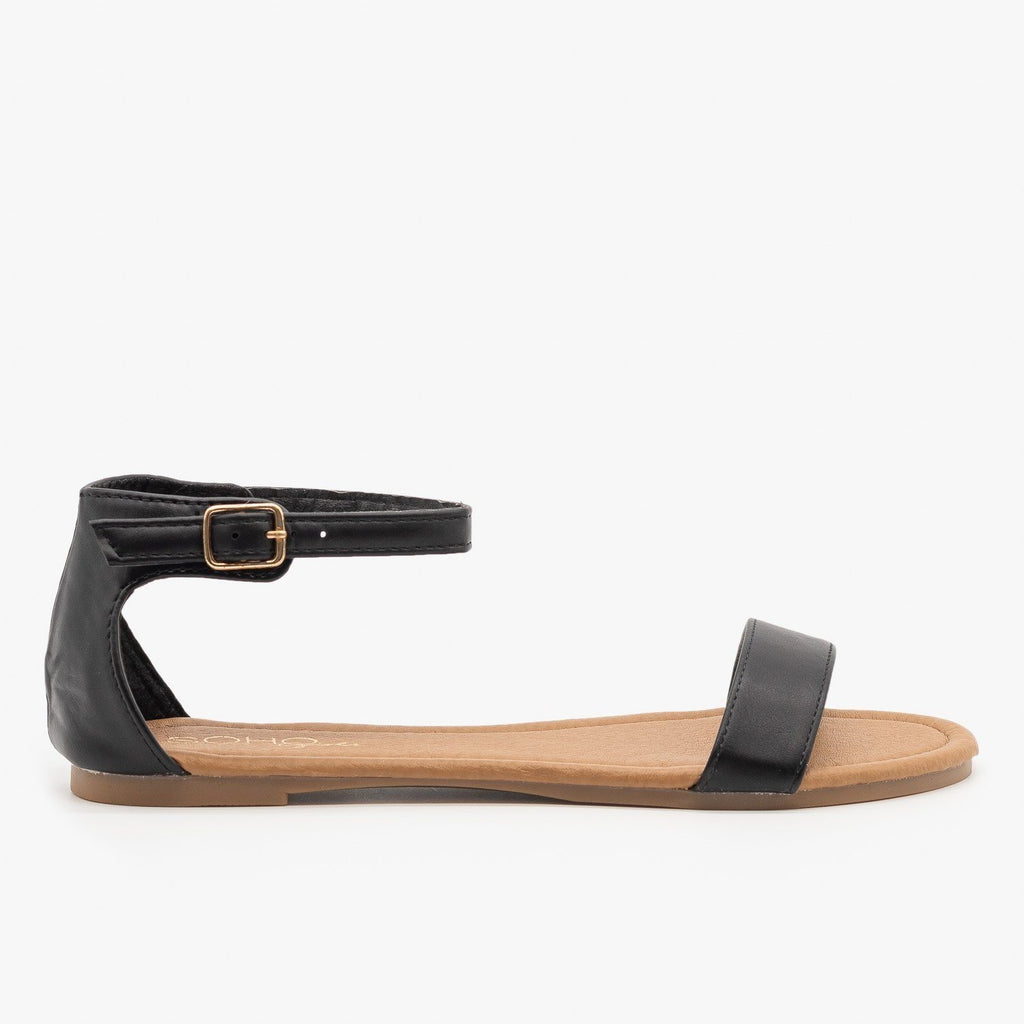 Womens Simple Summer Sandals - Soho Girls - Black / 5